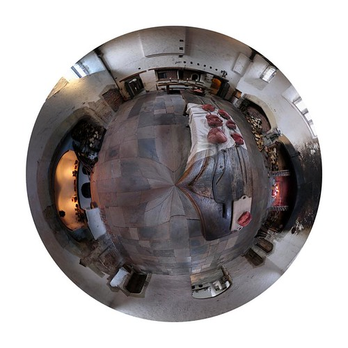 polar panorama of the roasting kitchen