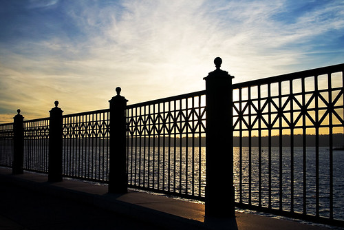 Riverfront Fence At Sunrise