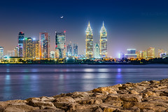 _MG_8920_web - Al Kazim towers and DIC district under moonlight (AlexDROP) Tags: 2017 dubai uae emirates travel tower panoramic skyline architecture color city urban light night scape sea moon bluehour canon6d ef241054lis best iconic famous mustsee picturesque postcard hdr longexposure