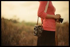 One Nice Day (Lefty Jor) Tags: camera red hk sunlight tlr film girl grass rolleiflex hongkong xpro day photographer dof kodak bokeh crossprocess slide strap expired misu 南生圍 f3hp ektachrome160t 50mmf12