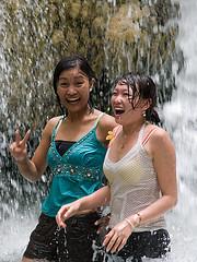 zzKanchanaburiErawangal1AA (jitenshaman) Tags: wet smile waterfall women pretty laugh erawanfalls asianwomen thailandthaiasiatravel