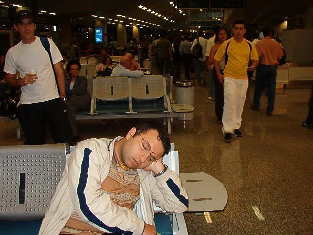 Ulas sleeping in Rio's Airport