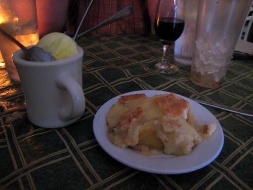 Ooey-gooey cake with buttermilk ice cream