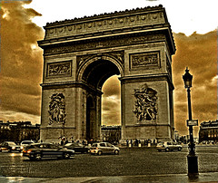 Arc de Triomphe. Paris.- (ancama_99(toni)) Tags: street leica old city trip travel light vacation urban house holiday abstract paris france color building texture textura monochrome yellow sepia architecture photoshop vintage buildings french geotagged lumix photography lights photo interestingness interesting arquitectura edificios europa europe cityscape photos antique decay edificio cityscapes frana photographic panasonic explore textures layer layers abstracto francia texturas parijs 2007 pars urbanas 1000views parigi urbanscapes arcodetriunfo goldenglobe 10000views 5000views texturized 10faves arctriomph 25favs fz7 dmcfz7 25faves ancama99 colourartaward interesantsimo hochefriedland