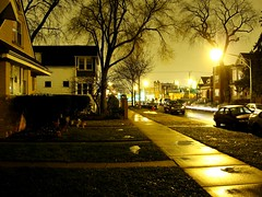 December Rain (EMENFUCKOS) Tags: trees light chicago nature rain night streak shots saro