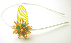 Orange, Green and Yellow Vintage Flowers Headband