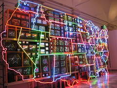 """Electronic Superhighway"" By: Nam June Paik (01) (Dan Dan The Binary Man) Tags: portrait june dc washington districtofcolumbia gallery district columbia national electronic npg superhighway nam paik electronicsuperhighway smithsoniansnationalportraitgallery smithsonians continentalusalaskahawaiinam"