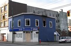 blue Komura #1 (SqueakyMarmot) Tags: urban vancouver fire downtowneastside japantown neighbourhood oldbuilding