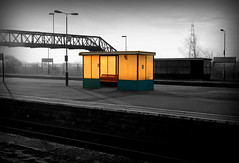 Messing around with Selective Colouring (-terry-) Tags: morning station wales sunrise glow railway shelter monmouthshire selectivecolouring 3wayicon severntunneljunction rogiet tuw121