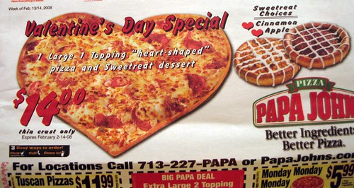 Papa John's advertising a heart-shaped pizza: Valentine's Day Special!