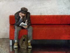 she says I don't listen ... (lesbru) Tags: portrait painterly photoshop bench book phone textures despondent d40x