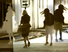 Parting ways (photopolly) Tags: street people sepia way walking mirror women highheels streetsign echo silence photoillustration parting disagreement walkaway stilletto separateways dsc01956 photopolly
