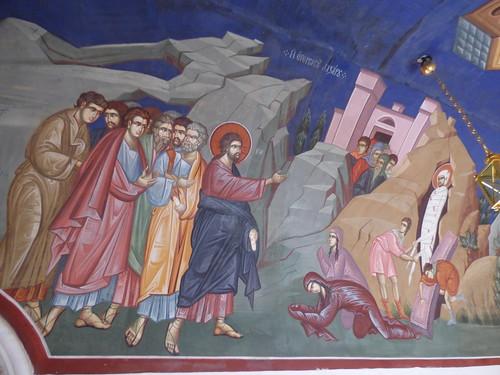 Kykkos Monastery, fresco - Raising of Lazarus