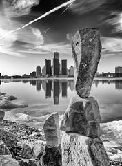 Balance (DaveCowieMT) Tags: noiretblanc blackandwhite detroit detroitrockcity landscape balance rock water michigan windsor ontario canada
