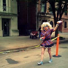 Drag Oasis (antonkawasaki) Tags: nyc streetphotography squareformat barrier riversidedrive iphone peculiar 500x500 antonkawasaki dragoasis volunteerwithrefreshments givingoutcashewwaterfunky fabulousdragqueen aidswalkroute newyorkdrive
