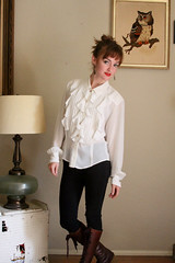 Liz Clairborne Collection Ivory Pintucked & Ruffled Poet Blouse 1 (mondas66) Tags: ruffles lace victorian ascot blouse poet romantic elegant ornate lacy dainty prim frilly elegance jabot ruffle demure blouses frills frill ruffled flouncy flounce lacework frilled flounces frilling frillings befrilled