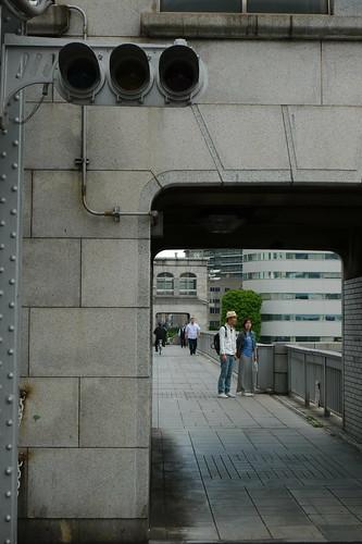 勝どき橋の歩道の信号。