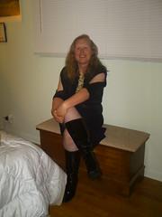 Halloween6 (PhotobyValerieKoch) Tags: black sexy halloween beautiful costume legs boots flirt feminine fishnet blonde heels milf crossed kneehigh sexyboots  sexyhalloweencostume