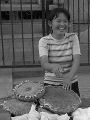 IMG_2452.CR2 (jonstraveladventures) Tags: china street blackandwhite woman face point beijing sunflower