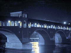 Old Bridge (Kiky01) Tags: old bridge blue italy reflection love water architecture night canon wow river town ticino emotion blu fiume covered lombardia pavia artphoto artisticexpression onlyyourbestshots kuwaitphoto theunforgettablepictures kuwaitartphoto everywherewalks kuwaitart italianflickrworld