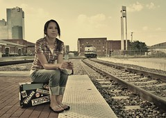 Goin' Out West. (The Vision Beautiful) Tags: railroad leave girl beautiful sunglasses station shirt train downtown gorgeous tracks teen abandon plaid suitcase kailynmccarthy