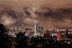 24 Hours Later.... (David M Hogan) Tags: seattle city snow skyline night washington cityscape snowstorm spaceneedle kerrypark seattlecenter queenannehill anawesomeshot diamondclassphotographer
