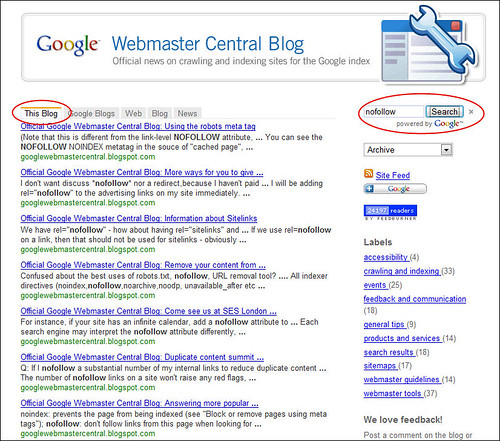 Google Webmaster Central Blog - search for 'nofollow' produces no results