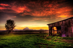 Barn + Mountains + Tree + Sunset + HDR = Wonderful (Extra Medium) Tags: sunset tree grass barn scenery hdr sutterbuttes 9exposures anawesomeshot nottresspassing
