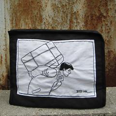 Enki Bilal toilet bag (cicilem) Tags: white black de point hand embroidery sewing cartoon bad made bd broderie tige enkibilal brode cartonnist