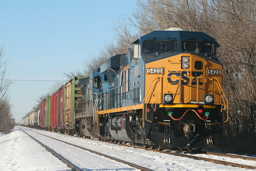 CSX freight in snow - Franklin Park, IL