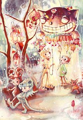 The pixie carnival parade section (ollerina) Tags: carnival illustration forest painting acrylic dragon chinese pixie fairy fantasy faery superluckycat watercolour magical fancydress fairyland imp artworkoriginal larnternparade