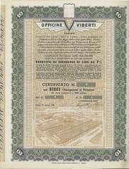 OFFICINE VIBERTI (scripofilia) Tags: 1949 obbligazioni officine officineviberti viberti