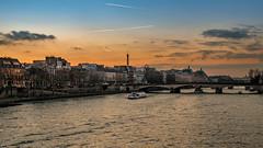 Le musée d'Orsay depuis le Pont des Arts (Michel Hincker) Tags: river sunset paris blue orange sky water seine city outdoor waterfront architecture bridge museum canon 80d orsay