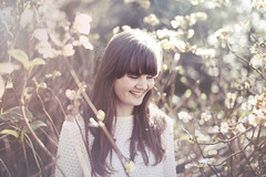 Ella Janes (Iona Taberham) Tags: flowers winter portrait musician sun sunlight fall girl smiling fashion laughing canon garden 50mm necklace spring pretty glow natural f14 naturallight fringe portraiture ethereal singer jumper guitarist hydrangeas songwriter