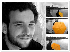 Umbrella (UomoDiAtlantide) Tags: boy summer portrait london umbrella cutout fdsflickrtoys mosaic roberto salento puglia selectivecolor apulia mosaicmaker bwyellow flickrchallengewinner bwandacolor