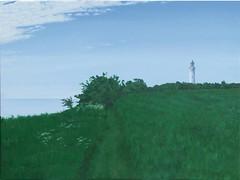 Trampesti (dirkgue) Tags: see meer felder himmel wolken landschaft danmark nordsee ostsee acryl leuchtturm küste malerei norddeutschland leinwand gemälde realismus büsche realistisch dirkgünther