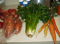 potatoes, sweet potatoes, celery and carrots
