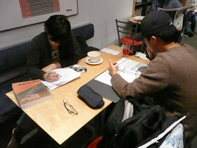 Shu Lin Wee (left) and Dong Woo (right), UBC students studying at Think!