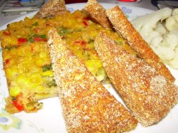 V'con Corn-Crusted Tofu & Corn Pudding