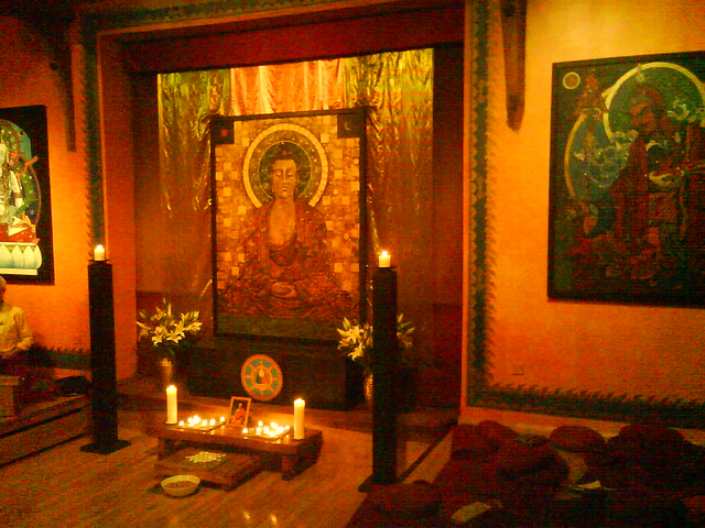 Padmaloka shrine at night 3