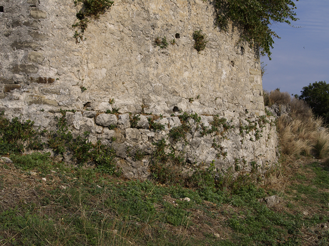 Castle Grivas, base of NE tower showing circular rubble foundation