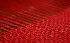 100% woven by ME (LollyKnit) Tags: red acrylic cranberry sample woven weaving loom allbymyself projectspectrum tlcessentials schachtbabywolf mynewloom