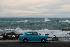 Sunday Drive (geoftheref) Tags: ocean road new travel blue our sea newzealand sky cloud mer white classic ford water nova car vintage island la mar interestingness interesting rocks meer long flickr surf mare waves pacific space south wave zeeland canterbury zealand nz land kiwi crayfish aotearoa nueva kaikoura nouvelle zelanda neuseeland zelandia nuova anglia nieuw zelndia  zlande canterburynz  ourspace geoftheref overzees   ourspacenz
