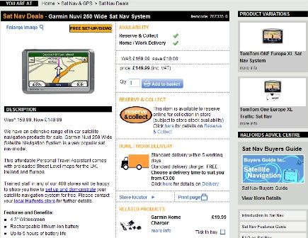 Halfords product page