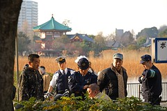In trouble with the cops, Ueno Park (philipjbigg) Tags: travel people tourism japan modern japanese tokyo asia traditional homeless sightseeing streetphotography places adventure journey colourful japaneseculture cultural jobless sociology 21stcentury homelessness hardtimes homelessguy homelessman socialproblem sleepingrough socialissue gaman politicalissue philipbigg philipjbigg
