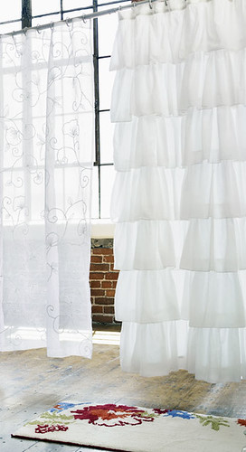 India Rose white devil shower curtain