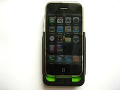 De iPhone in de case.
