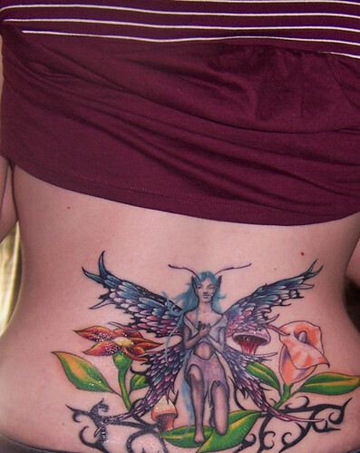 lower back fairy tattoo