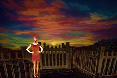 Lady of the Sky (Rusty Russ) Tags: sky dress lady manikin sunset sun fence twilight red pastel photoshop flickr google bing daum yahoo image stumbleupon facebook getty national geographic magazine creative creativity montage composite manipulation color hue saturation flickrhivemind pinterest reddit flickriver t pixelpeeper blog blogs openuniversity flic twitter alpilo commons wiki wikimedia worldskills oceannetworks ilri comflight newsroom fiveprime photoscape winners all people young photographers paysage artistic