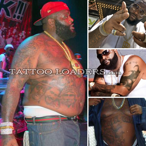 rapper tattoo. Tattoos on Rapper Rick Ross